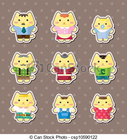 Cat clipart family Search cat Vector family of