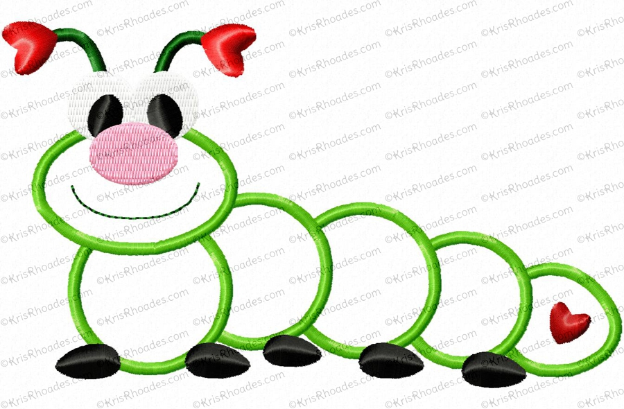 Caterpillar clipart love bug Bug caterpillar Applique Embroidery love