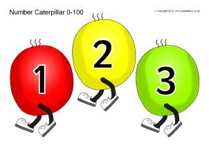 Caterpillar clipart number 1 Tracks Printable Key (Segments) Number