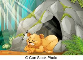 Cave clipart lion cave Sleeping clip Cave Little cub