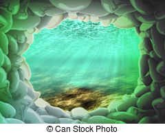 Cave clipart underwater cave Stone under beams The underwater