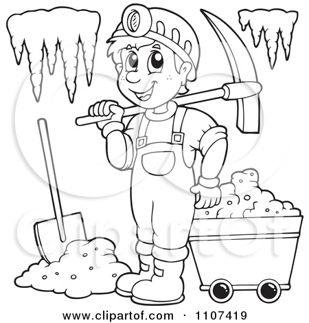 Drawn cavern vector A Free Clipart Outlined Miner