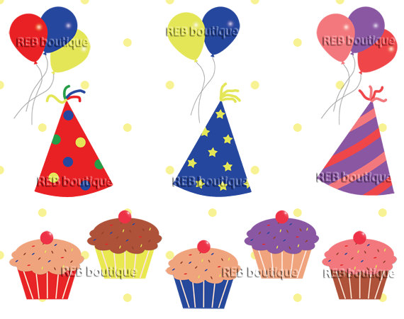 Decoration clipart celebration Birthday Hats  purple cupcakes