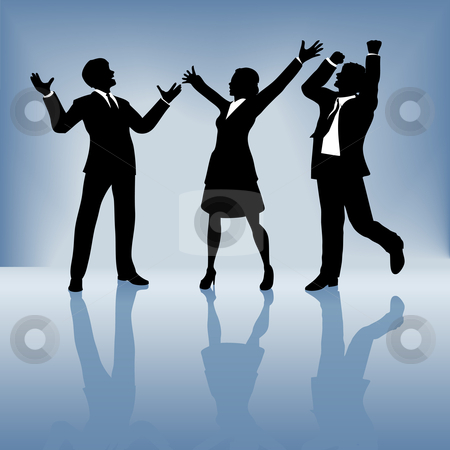 Celebration clipart business team Of gradient people celebrate on