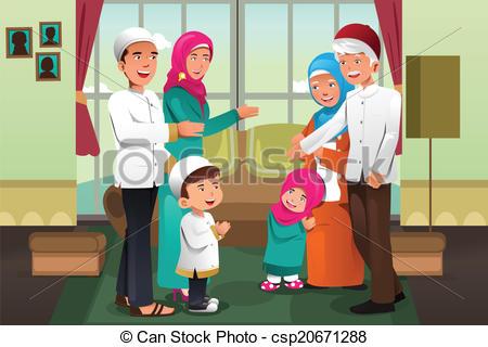 Celebration clipart eid al fitr Royalty Eid celebrating fitr vector