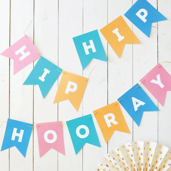 Celebration clipart hooray Hip Hooray pennant print pennant