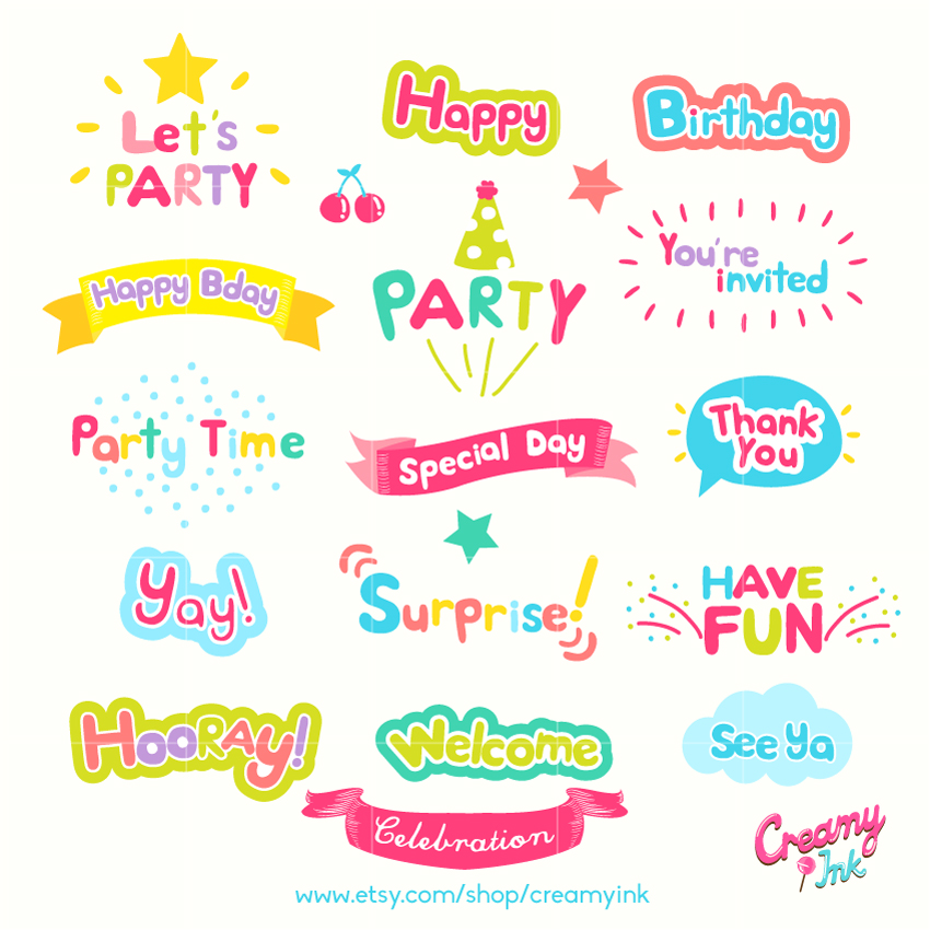 Decoration clipart celebration Celebration Clip Words Birthday Digital