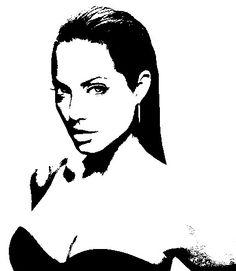Celebrity clipart angelina jolie Vector #Stencil Salvador Celebrity Illustrations