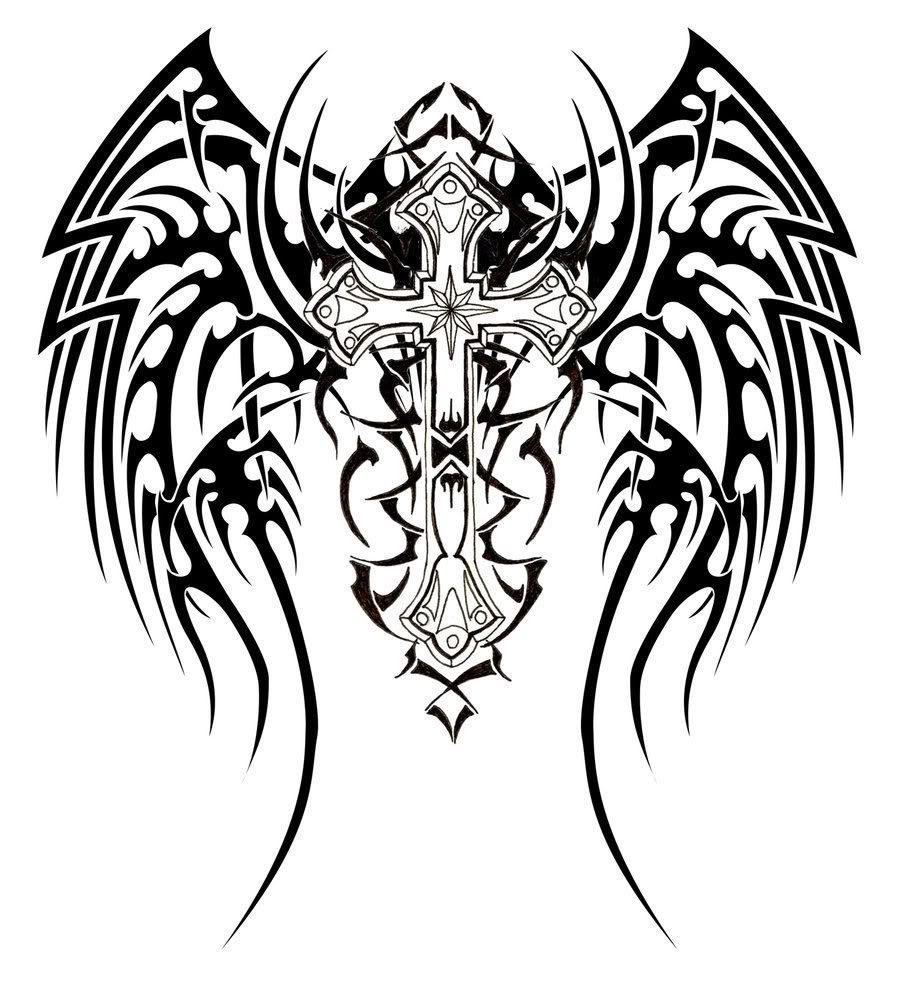 Fallen Angel clipart line art Cross angel with tuesday cross