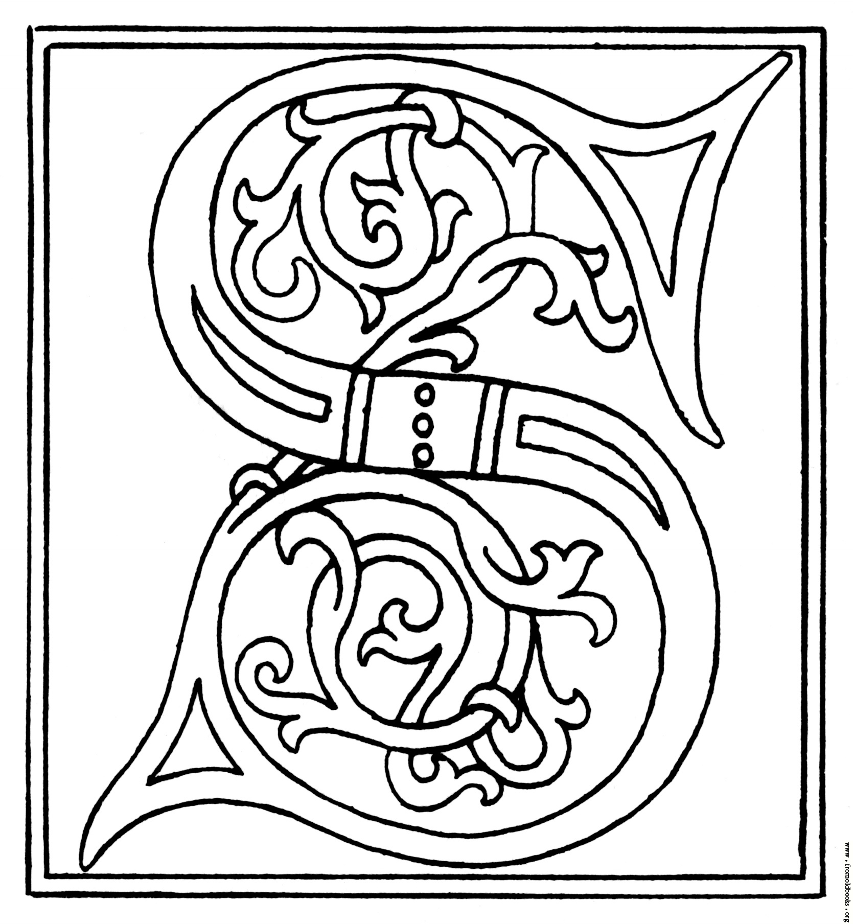 Celt clipart color Initial Calligraphy Printable S from