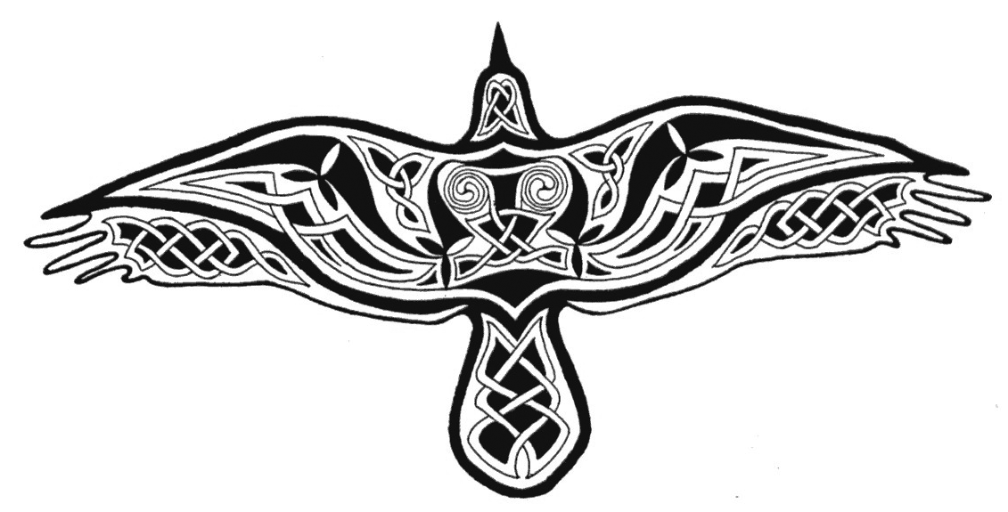 Drawn raven Sillhouette Celtic raven a of