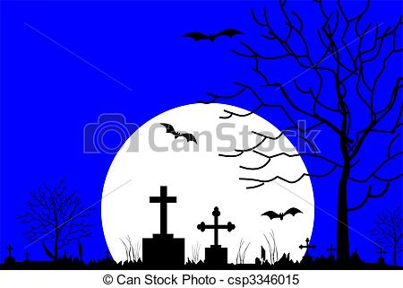 Cemetery clipart border Stock in of  night