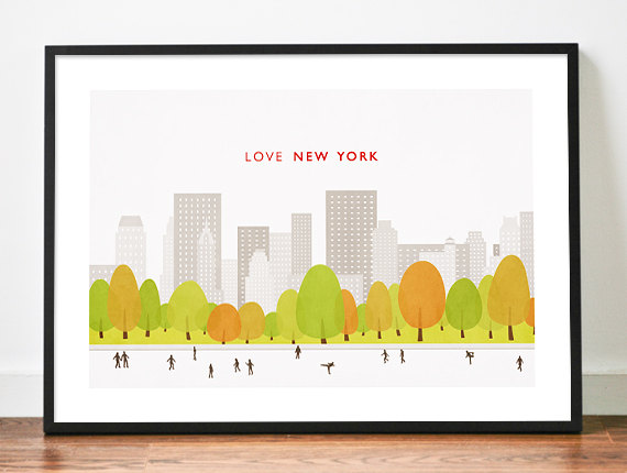 Central Park clipart illustration Print York poster illustration poster