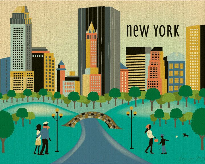 Central Park clipart city park Poster on Wall Daytime Loose