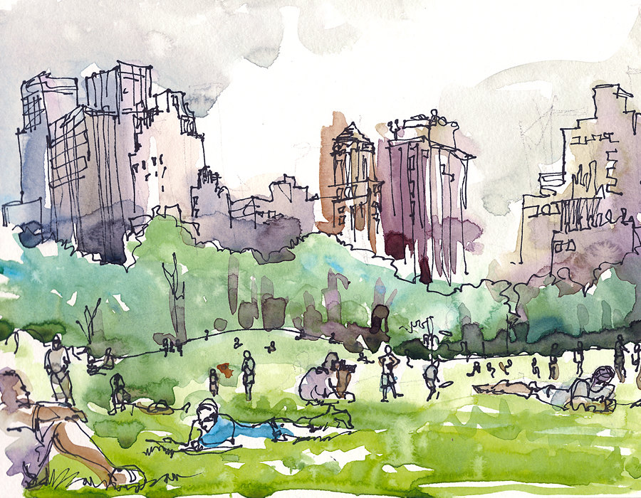 Central Park clipart illustration Meadow Sketchbook Art sketch watercolor