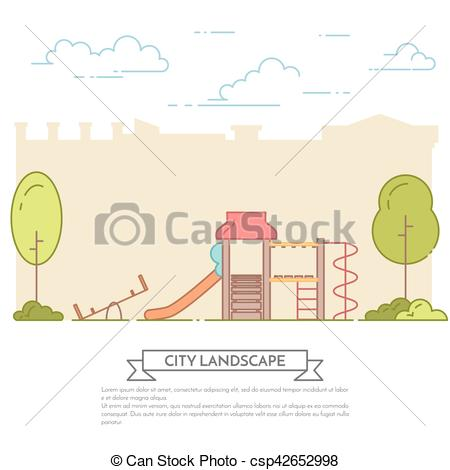 Central Park clipart illustration Line playground in central in