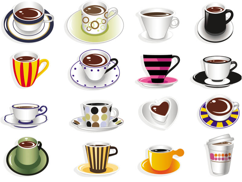 Mug clipart set objects Design of vector or cups