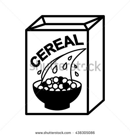Cereal clipart black and white Clipart black Cereal and Box