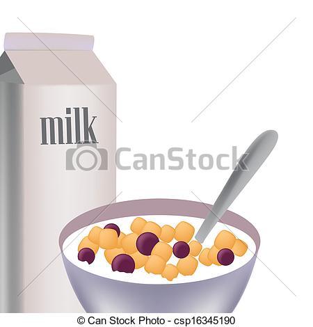 Cereal clipart caja de EPS cereal leche  delicioso
