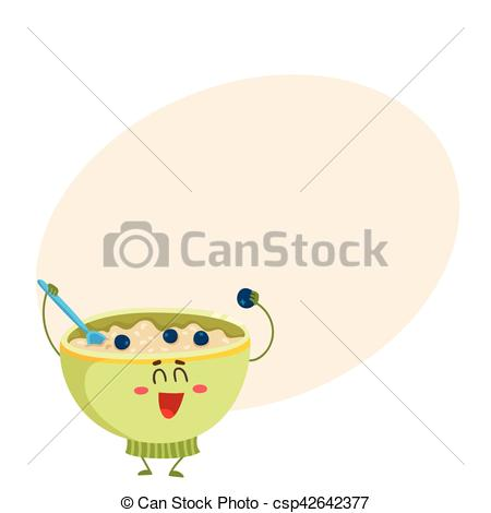 Cereal clipart funny Porridge cereal csp42642377 character oatmeal