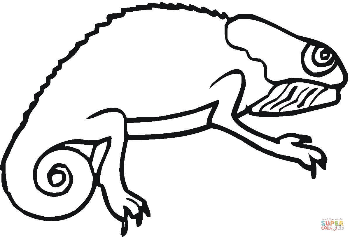 Drawn cameleon black and white Coloring Coloring pages Chameleon Printable