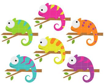 Cameleon clipart rainforest animal Paper Chameleons Toppers Lizard Cupcake