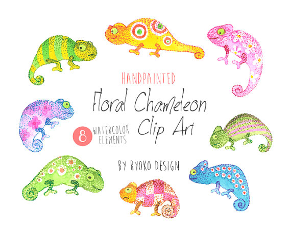 Cameleon clipart rainforest animal Cards Chameleon on greeting