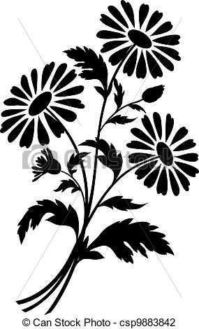 Chamomile clipart vector Csp9883842 silhouettes of of flowers
