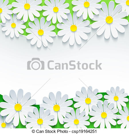Chamomile clipart vector With 3d frame flower chamomile
