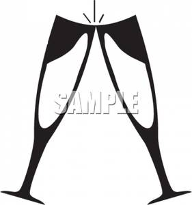 Champagne clipart black and white Two Image: Champagne Image: In