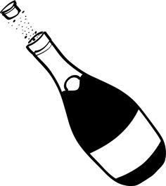 Champagne clipart black and white Art Clip  Champagne Best