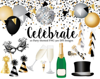 Champagne clipart confetti balloon  Clipart hat hat Year