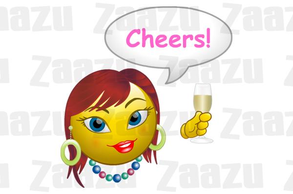 Champagne clipart emoticon Smiley cheers champagne Cheers! Zaazu
