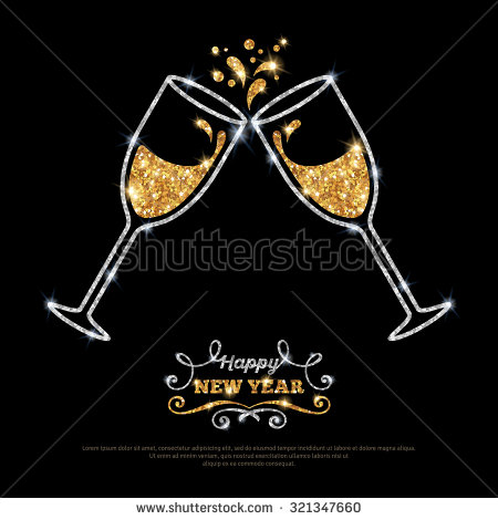 Champagne clipart gold Gold Place illustration gold glasses