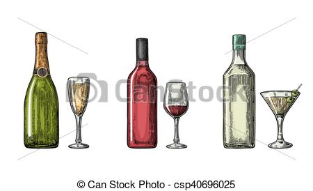 Champagne clipart liquor Glass champagne and glass Illustration