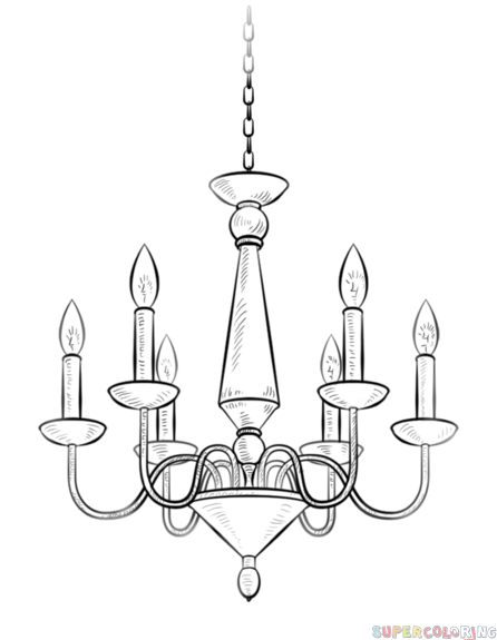 Chandelier clipart easy By Drawing draw chandelier step