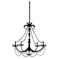 Drawn chandelier wall decal (55+) Black wall clipart Chandelier