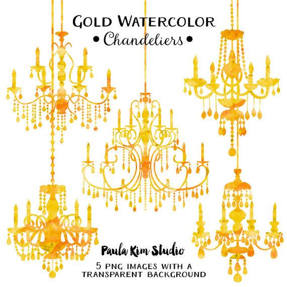 Chandelier clipart gold chandelier PaulaKimStudio Gold Clipart Clip Watercolor