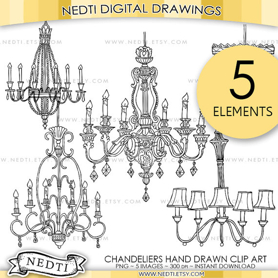 Chandelier clipart hand drawn Sketched Digital Clip Classic Hand