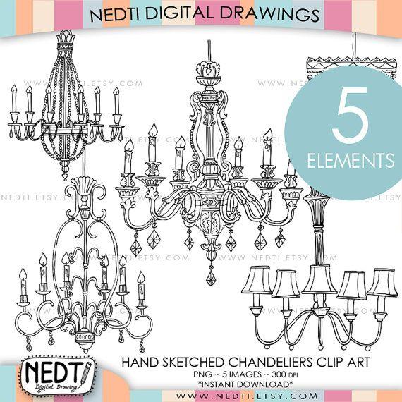 Chandelier clipart hand drawn Best Clip Hand Nedti Art