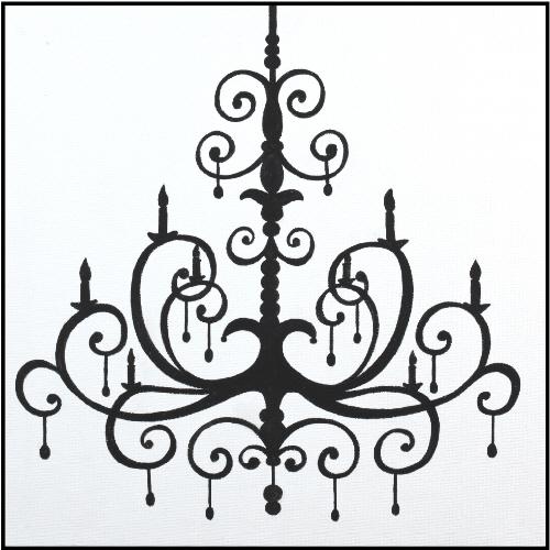 Chandelier clipart hand drawn Black Square Art Chandelier Canvas