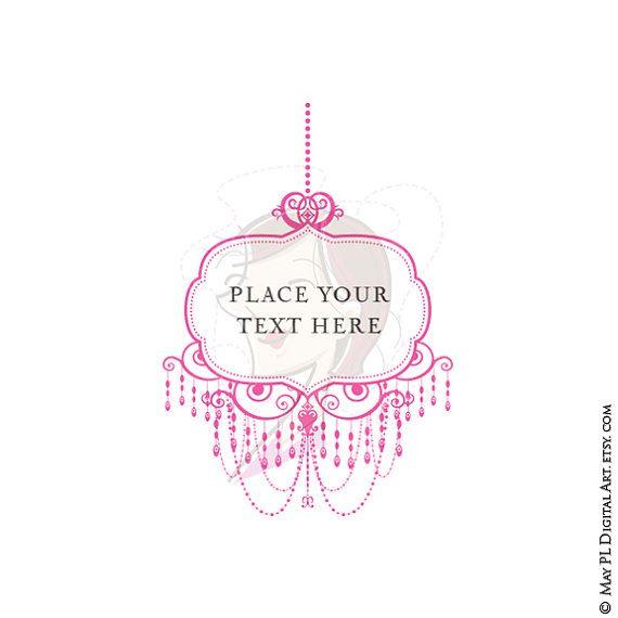 Chandelier clipart pink chandelier Retro Digital Ornate Frame Cards