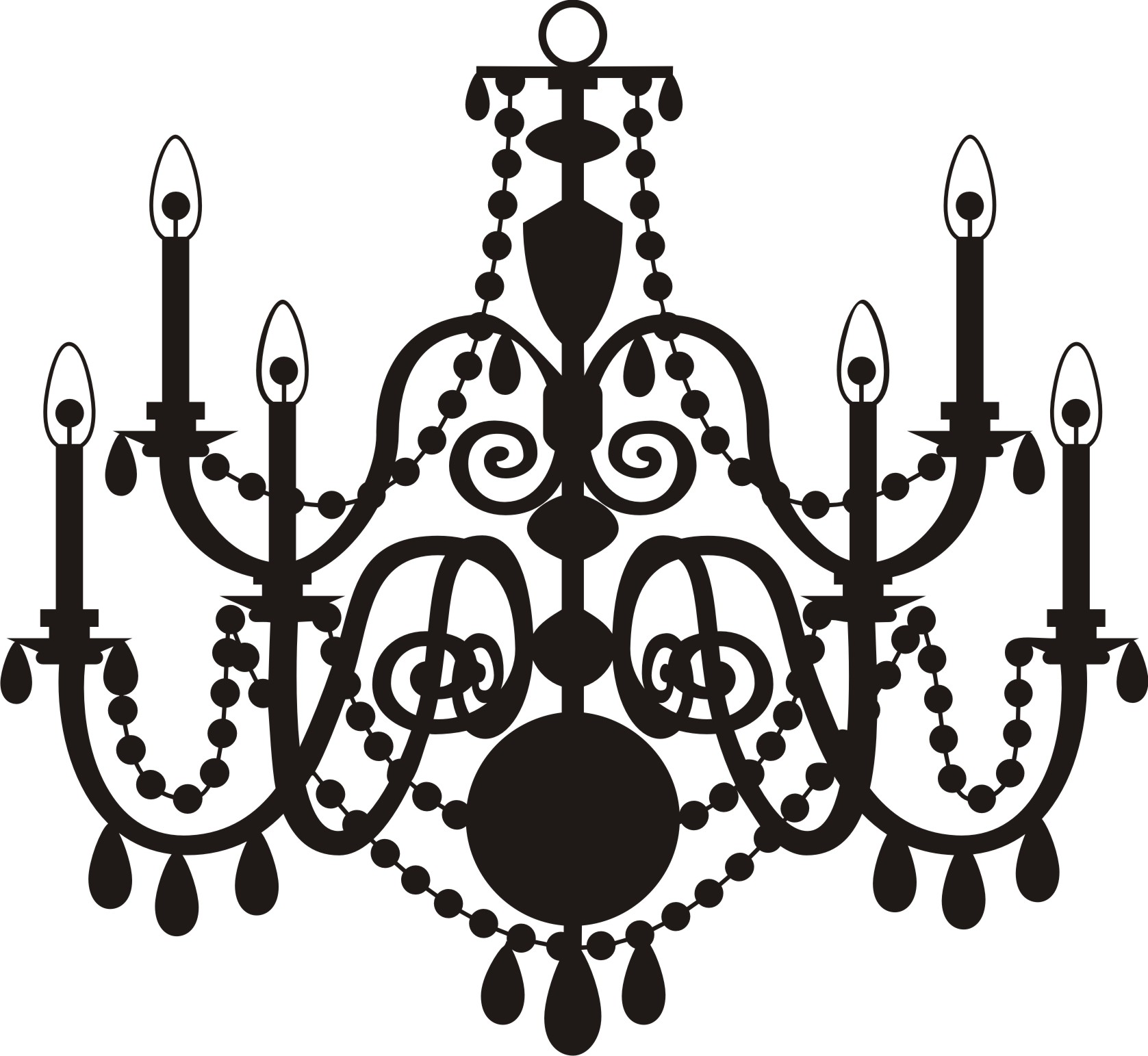 Chandelier clipart vector Silhouette of Fearsome Chandelieripart Silhouetteip