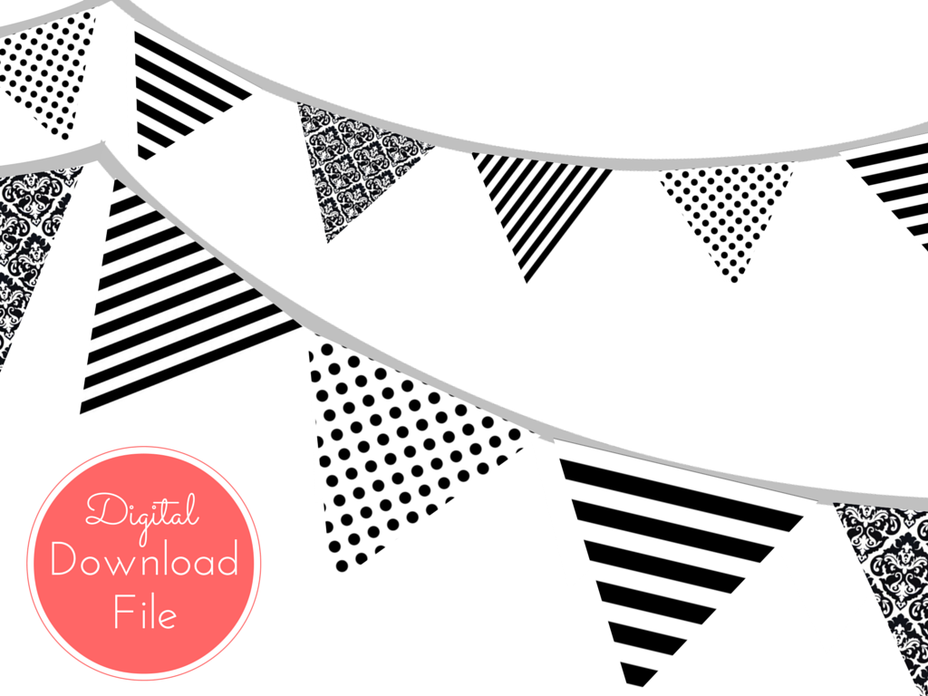 White clipart pennant banner  Inspired Black and Magical