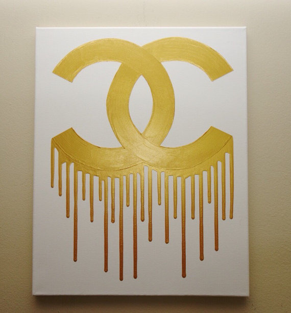 Chanel clipart drip 16x20 Gold Painting (16x20) White