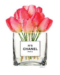Chanel clipart flower Poster Ranunculus Chanel flowers vase