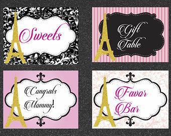 Chanel clipart glitter Eiffel Table Etsy Paris Paris