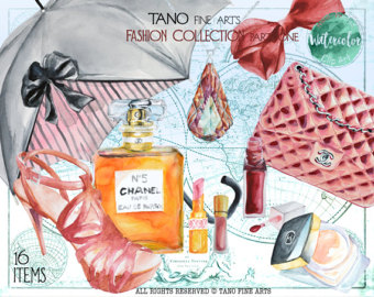 Chanel clipart large Watercolor Clipart detail Etsy collection