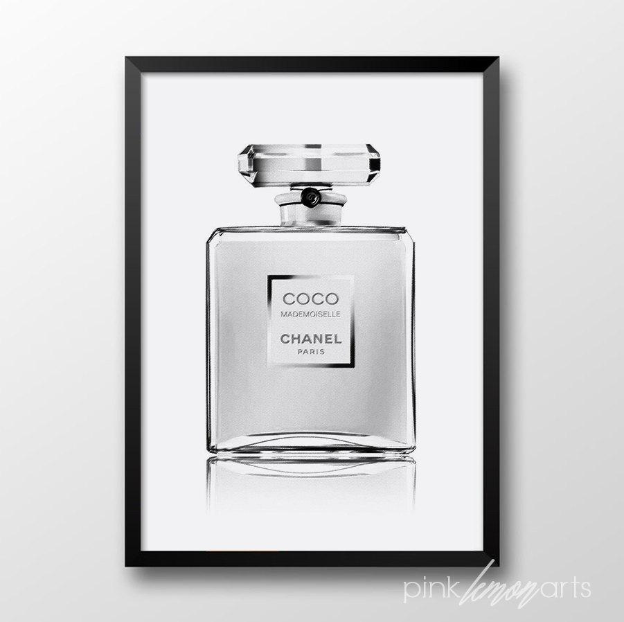 Chanel clipart large Chanel Perfume art print Etsy