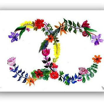 Chanel clipart logo art Chanel floral coco Poster illustration